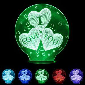 LAMPE A POSER Veilleuse Lampe nuit LED 3D cinq couleurs d'illusi