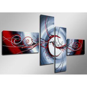 Tableau toile achat vente tableau toile pas cher - Tableau noir et blanc avec touche de couleur ...