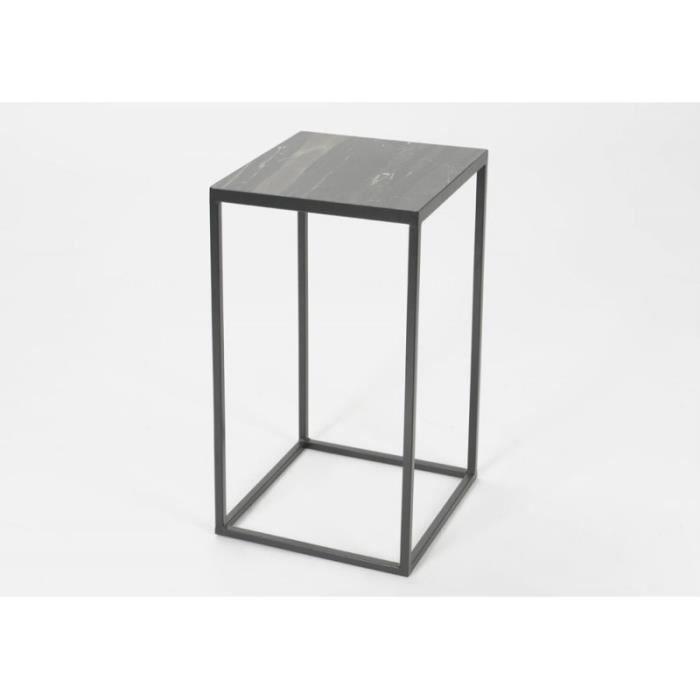 sellette carr en marbre noir gris achat vente console sellette carr en marbre no cdiscount. Black Bedroom Furniture Sets. Home Design Ideas