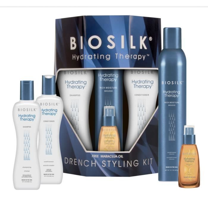 biosilk drench styling kit hydrating therapy achat vente shampoing biosilk drench styling. Black Bedroom Furniture Sets. Home Design Ideas