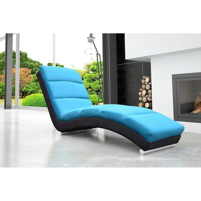 Fauteuil relaxation design en tissu mayol bleu noir - Fauteuil confortable pour lire ...