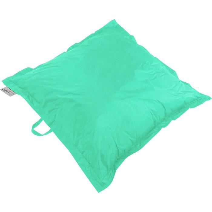 Coussin pouf xxl imperm able turquoise 120x120 cm achat - Coussin exterieur impermeable ...