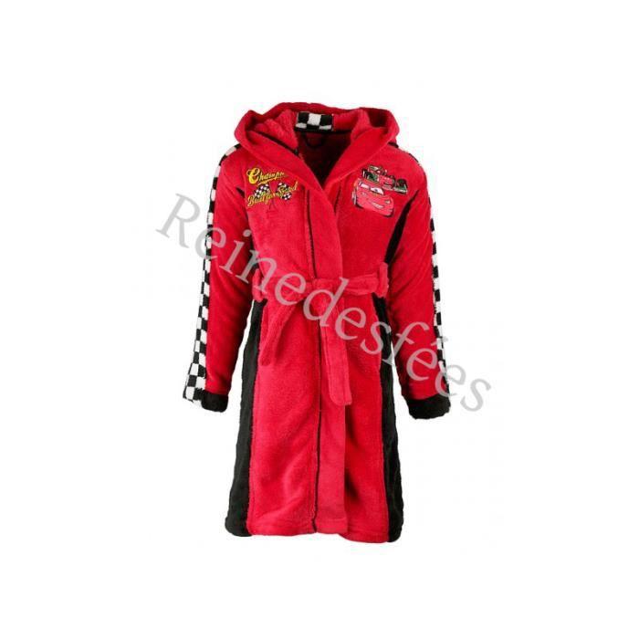 Robe de chambre enfant 5 6 ans voiture cars disney flash mac queen peignoir rouge capuche - Robes de chambre enfants ...