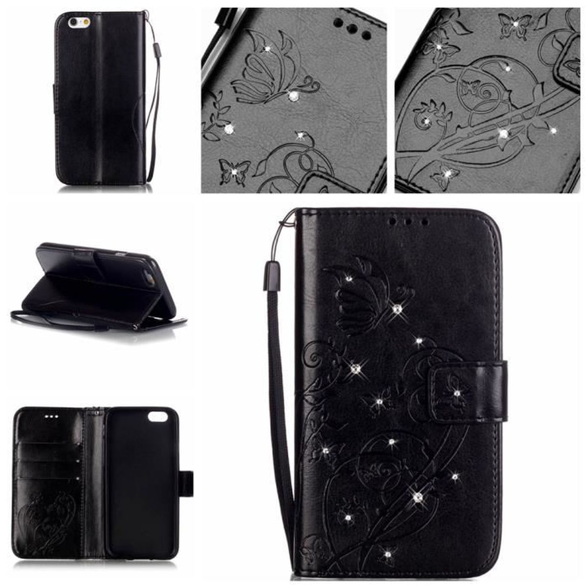Tui housse diamant luxe coque portefeuille cuir iphone 6s for Housse iphone 6 luxe