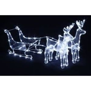 Traineau avec renne lumineux achat vente traineau avec for Traineau pere noel decoration exterieur