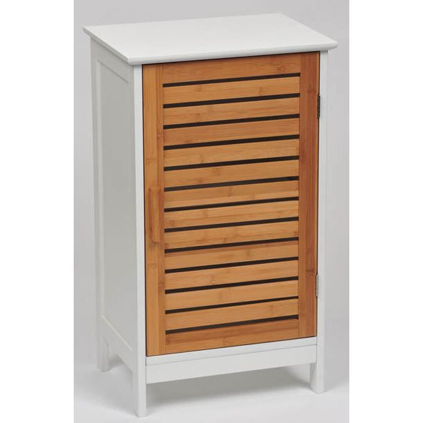 Element bas 1 porte bambou achat vente meuble vasque for Meuble bas bambou