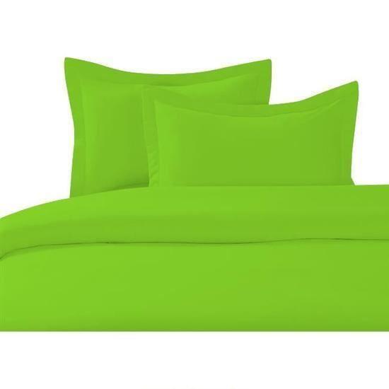Cdublanc housse de couette 140x200cm vert anis 2 taies d for Housse de coussin vert anis
