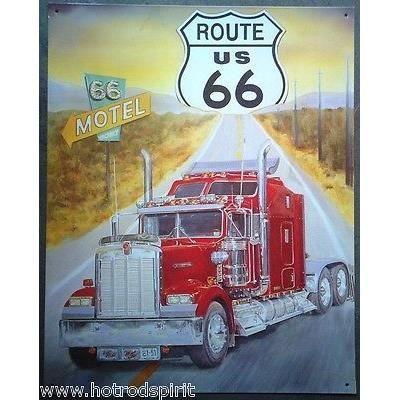 plaque publicitaire route 66 camion americain bar diner loft tole pub sott95389 achat vente. Black Bedroom Furniture Sets. Home Design Ideas