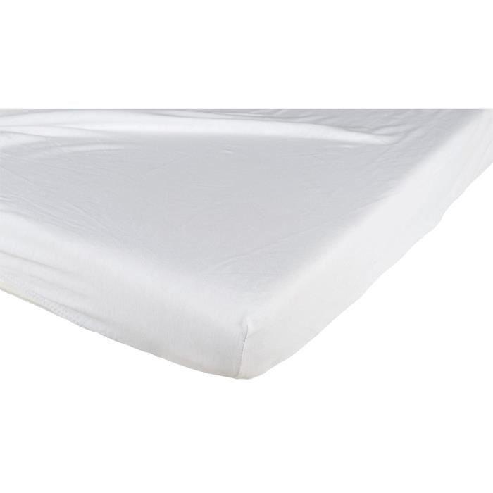 drap housse coton blanc 70x140 cm achat vente drap housse cdiscount. Black Bedroom Furniture Sets. Home Design Ideas