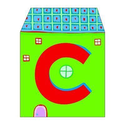 PLAQUE DE PORTE Lettre petite maison en bois : C