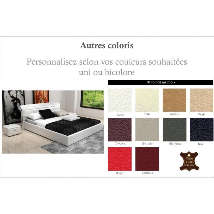 lit design en cuir italien de luxe spirit blanc 180x200 achat vente structure de lit. Black Bedroom Furniture Sets. Home Design Ideas