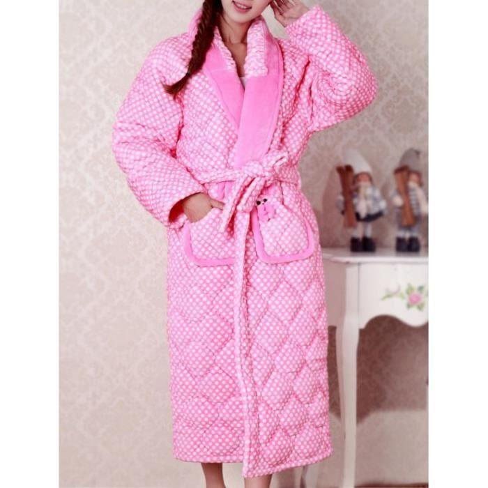 robe de chambre matelass e femme rose pois achat vente robe de chambre les soldes sur. Black Bedroom Furniture Sets. Home Design Ideas