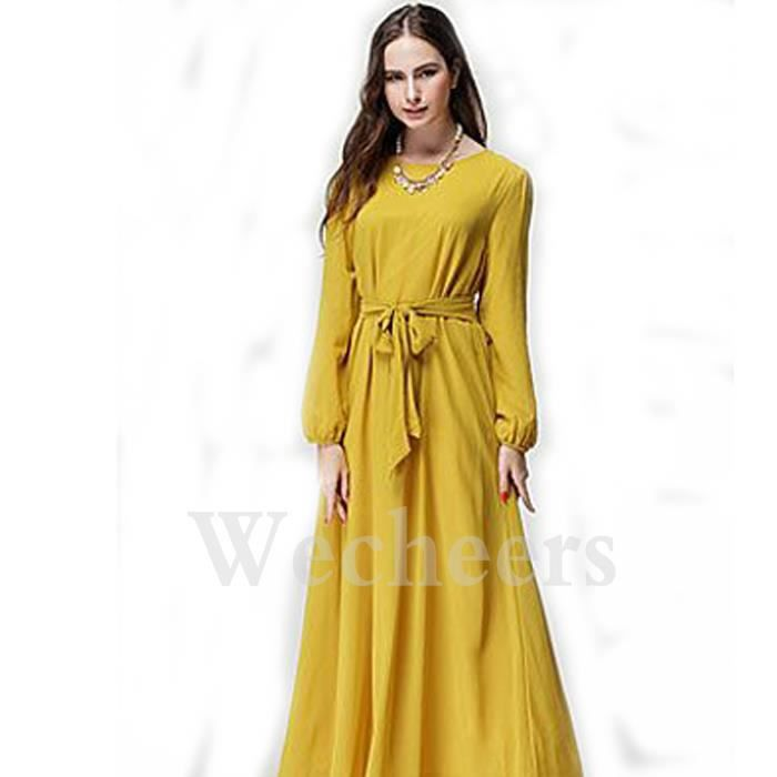 Femmes élégant Robe Manche Longue Mousseline caftan De Soie Soirée Robe De Bal Maxi Avec Ceinture.Femmes Abaya Ceinture En Mousseline De Soie Manches