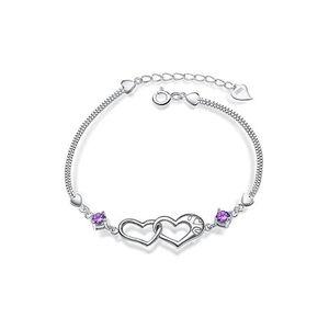 BRACELET , GOURMETTE Bracelet Souple Double Coeur Cristaux Swarovski El. \u2039\u203a