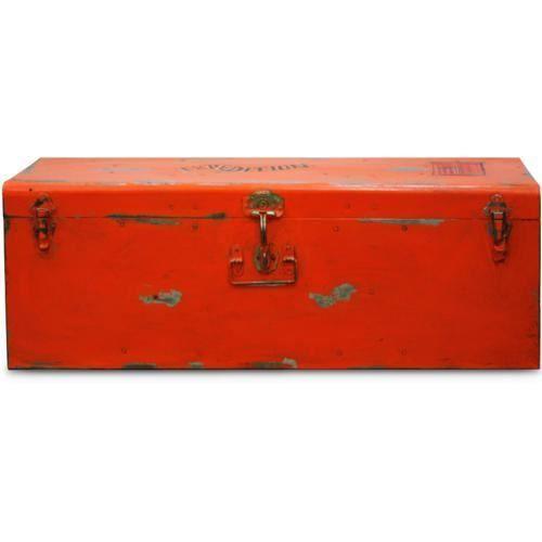 Malle style industriel vintage design orange achat vente malle style indu - Malle style industriel ...