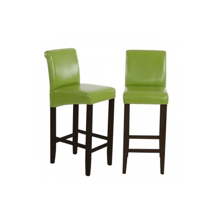 lot de 2 tabourets de bar en similicuir vert achat vente tabouret cuir synth tique ch ne. Black Bedroom Furniture Sets. Home Design Ideas