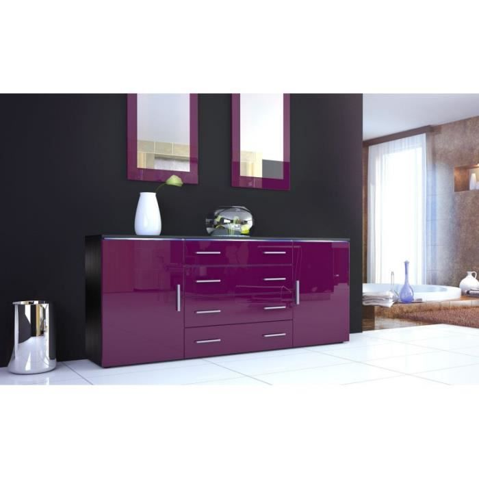 buffet noir et m re laqu design 166 cm achat vente. Black Bedroom Furniture Sets. Home Design Ideas