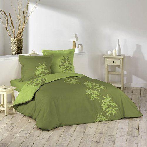 Housse de couette 140x200 cm bamboo vert olive achat for Parure couette 140x200