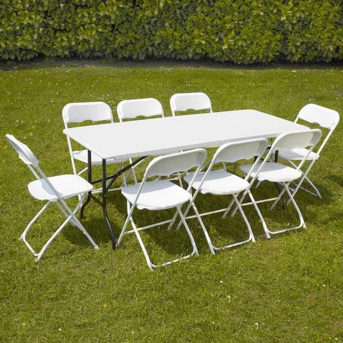 Table jardin pliante 8 personnes for Table exterieur 2 personnes