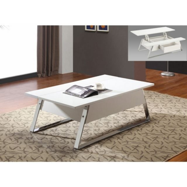 Table basse plateau relevable harrison blanc achat vente table basse tabl - Table basse plateau montant ...