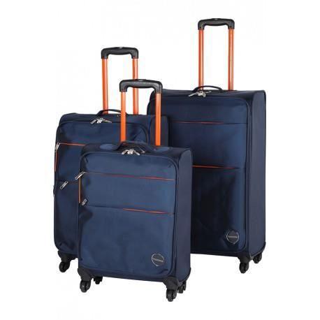 ensemble de 3 valises souples 4 roues couleur bleu rouge achat vente set de valises. Black Bedroom Furniture Sets. Home Design Ideas