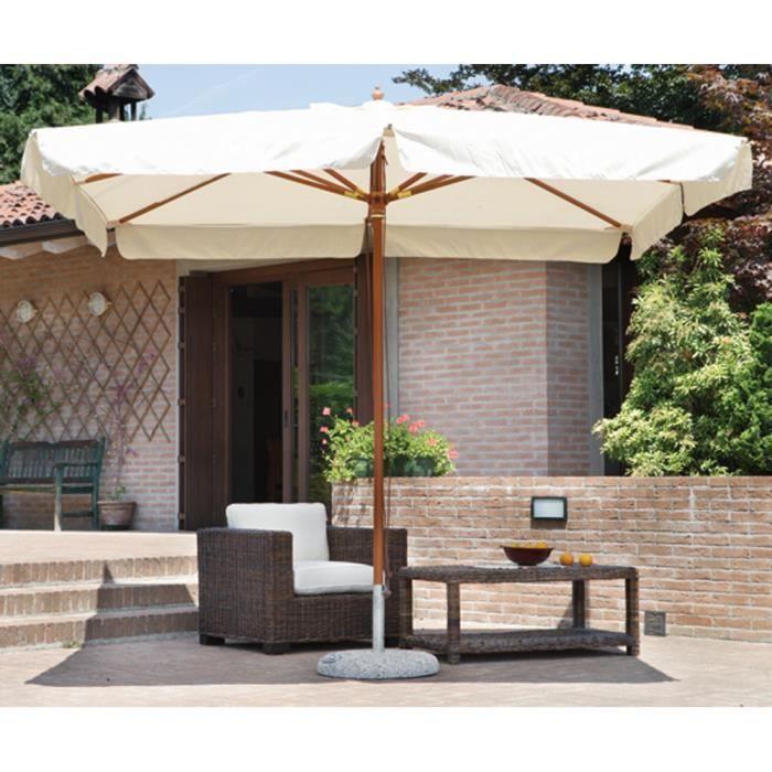 parasol centr rectangulaire 3 x 2 m coloris bois teck. Black Bedroom Furniture Sets. Home Design Ideas