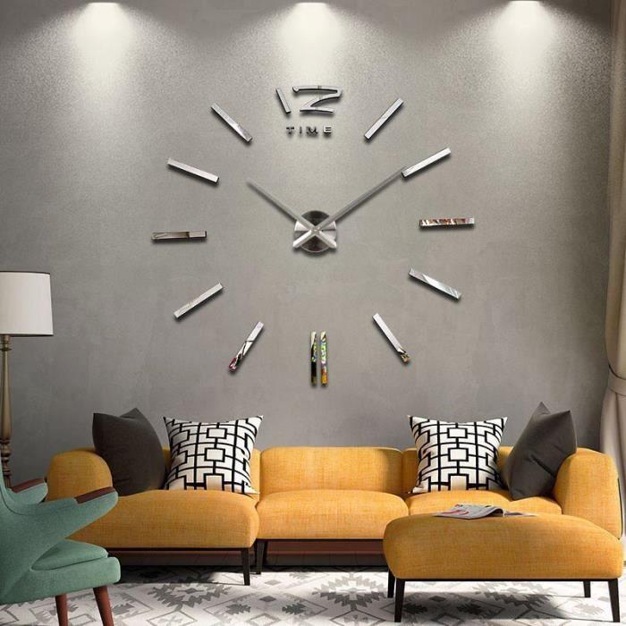 sticker mural diy 3d bas horloge argent murale moderne pendule pour d coration miroir salon. Black Bedroom Furniture Sets. Home Design Ideas