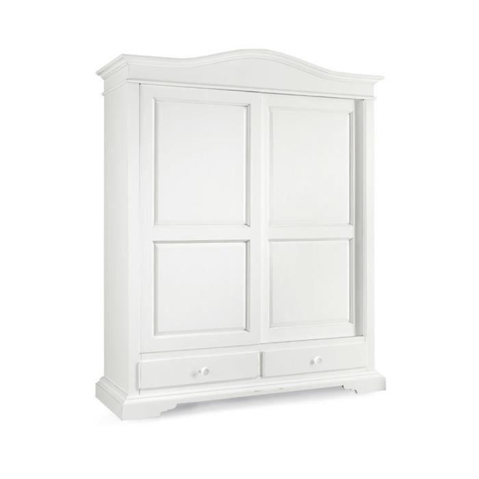 armoire avec 2 portes coulissante et 2 tiroirs style classique en bois massif et mdf avec. Black Bedroom Furniture Sets. Home Design Ideas