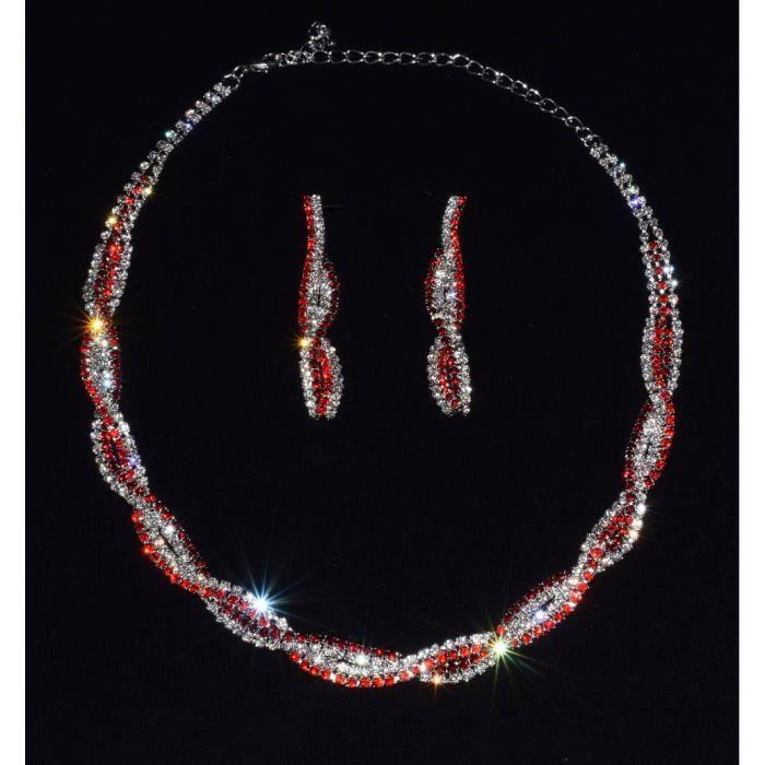 Parure bijoux collier rouge pour un mariage ou une soir e achat vente parure parure bijoux - Un ou une petale ...
