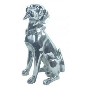 Chien labrador en r sine argent e achat vente objet for Decoration chien resine