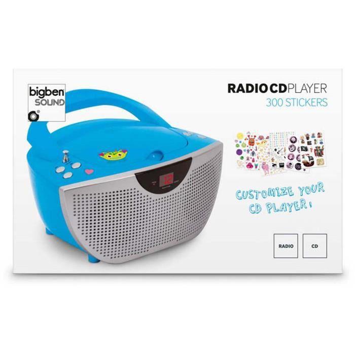 lecteur radio cd portable bleu 300 stickers radio cd cassette avis et prix pas cher cdiscount. Black Bedroom Furniture Sets. Home Design Ideas