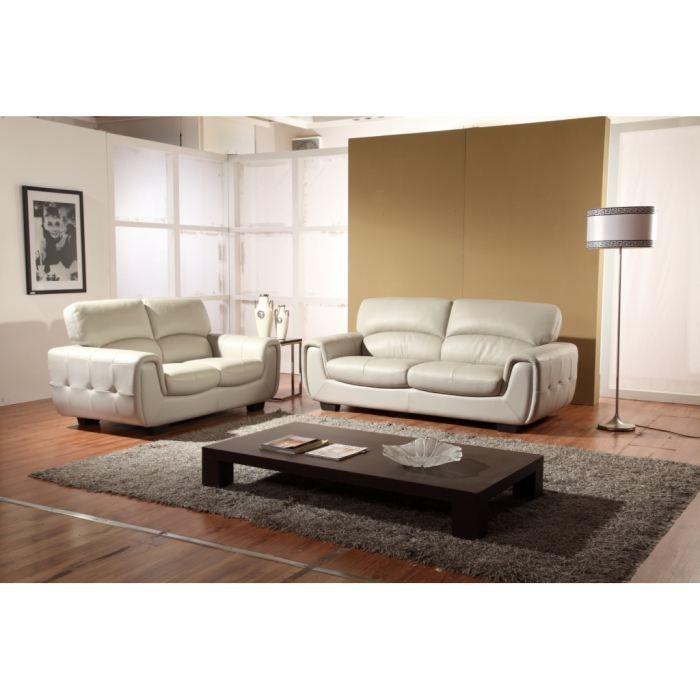 canap 3 2 places cuir design blanc eden achat vente salon complet cdiscount. Black Bedroom Furniture Sets. Home Design Ideas