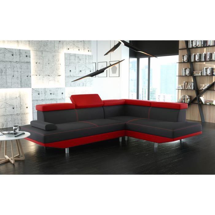 Canap d 39 angle stario noir et rouge avec t ti res achat vente canap - Canape d angle rouge et noir ...