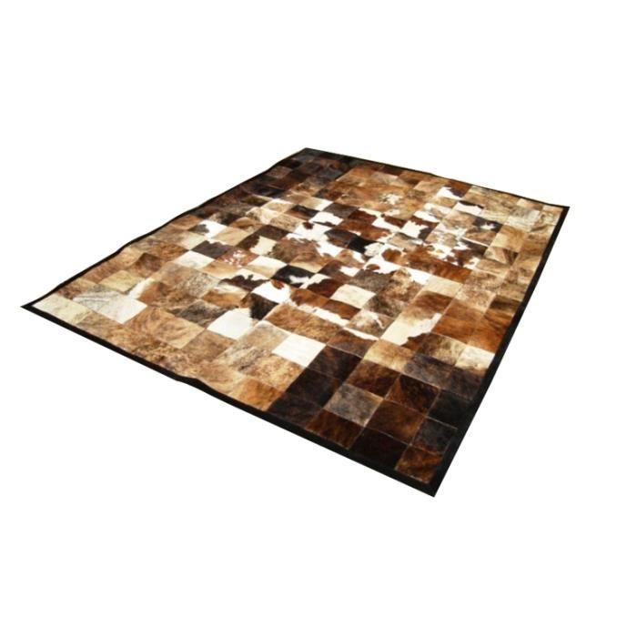 peau de vache india patchwork marron et blanc 120x180cm achat vente tapis cdiscount