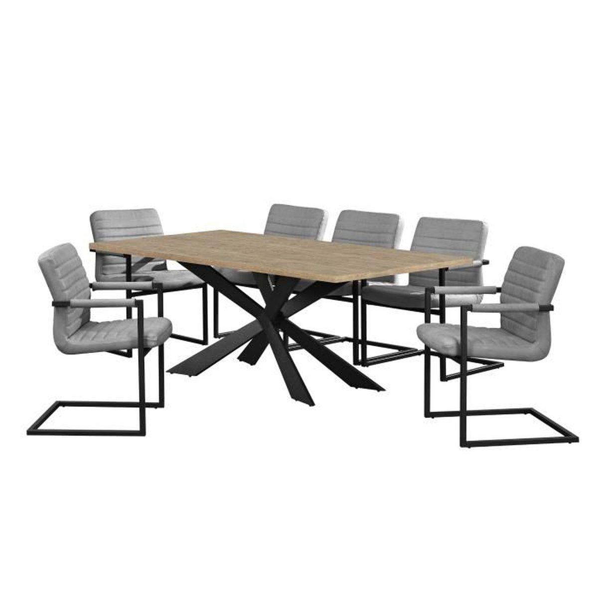 Table ch ne naturel avec 6 chaises cantilever - Table avec chaises encastrables ...