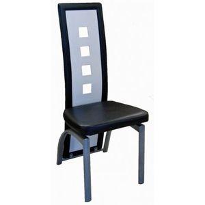 CHAISE Lot de six chaises de salle à manger noir et bl…