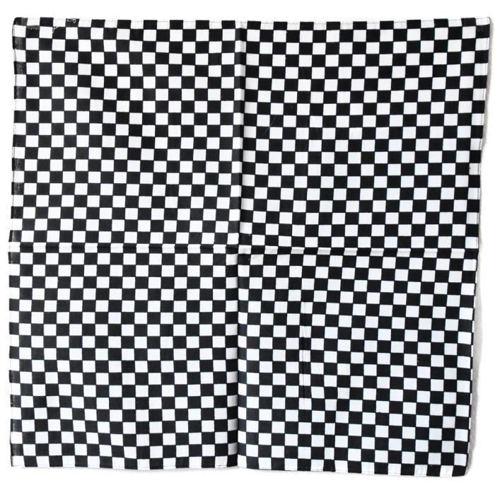 bandana damier noir et blanc 54x54 cm coton course rallye ska punk noir noir achat vente. Black Bedroom Furniture Sets. Home Design Ideas