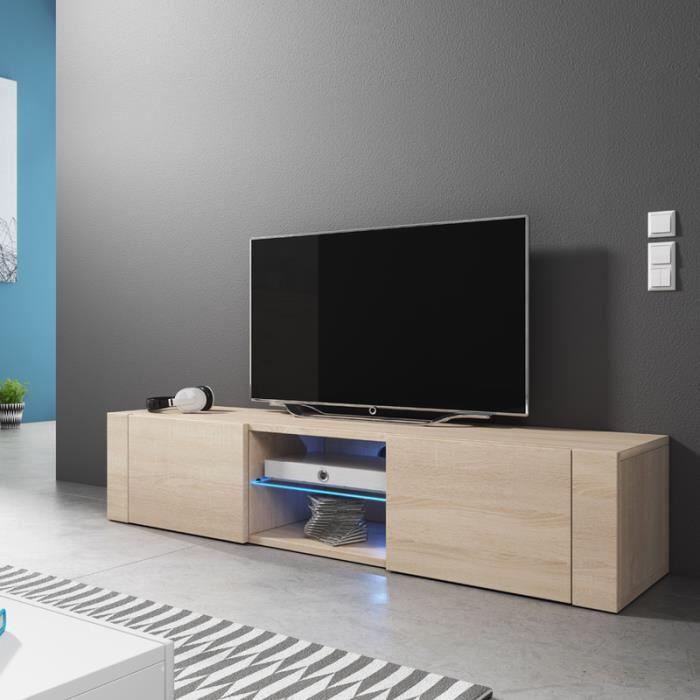 meuble tv el gant sonoma clair avec led achat vente meuble tv meuble tv el gant sonoma clair. Black Bedroom Furniture Sets. Home Design Ideas
