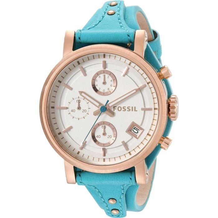 montre dame fossil original boyfriend es3769 chronographe bracelet cuir turquoise achat. Black Bedroom Furniture Sets. Home Design Ideas