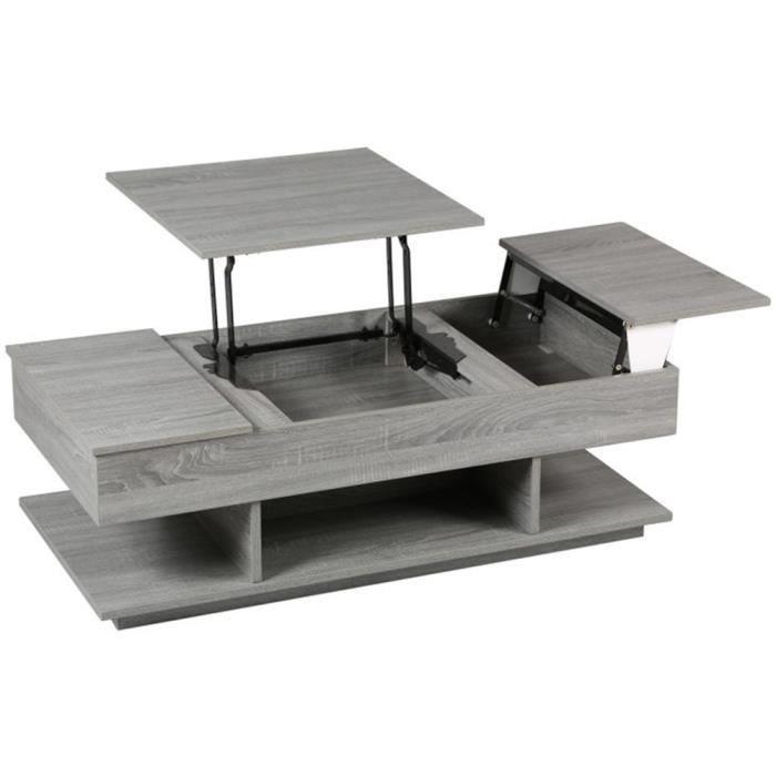 table basse modulable en ch ne gris x l achat. Black Bedroom Furniture Sets. Home Design Ideas