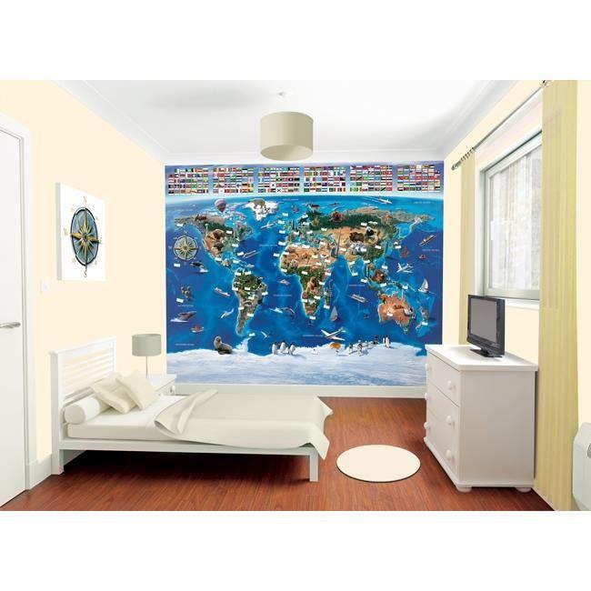 Papier peint enfant carte du monde walltastic achat - Produit pour decoller papier peint ...