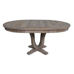 Table ronde en bois massif avec rallonge helise achat for Table ronde noire avec rallonge