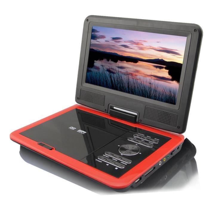 rouge 9 lecteur dvd portable pour voiture usb tv ou syst me ntsc pal dvd lecteur dvd portable. Black Bedroom Furniture Sets. Home Design Ideas