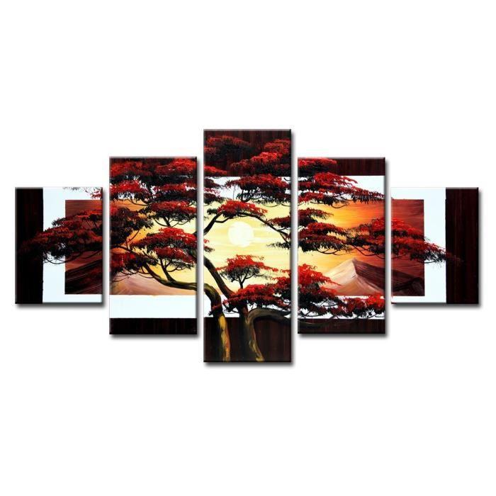 tableau moderne imprim 233 160x80 cm nature achat vente tableau toile toile bois cdiscount