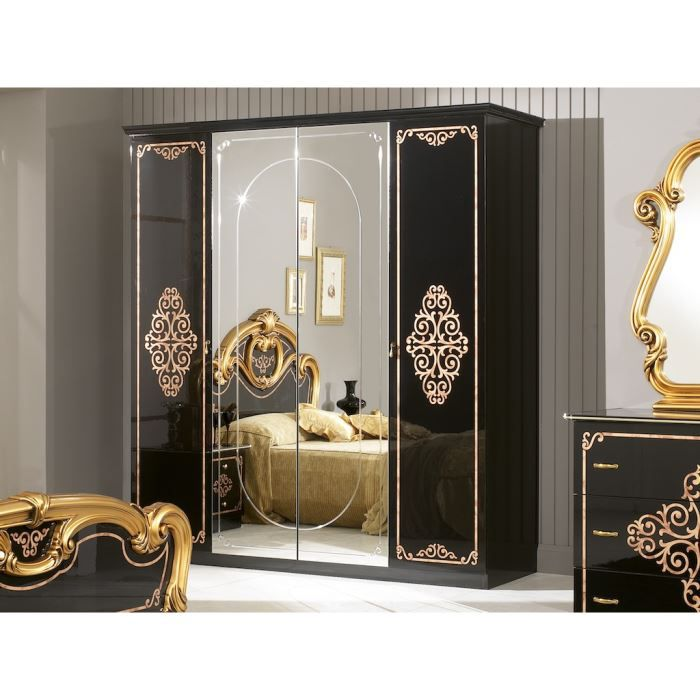 Armoire marek 4 portes laqu e noire achat vente armoire de chambre mare - Armoire laquee noire ...