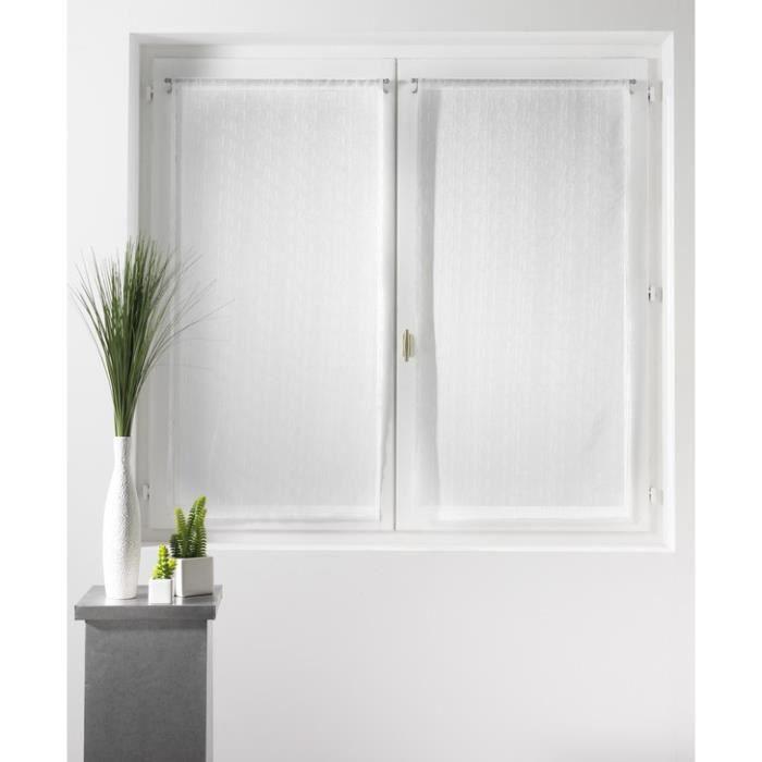 Paire de voilage cottage 2 x 60 x 120 cm illets blanc - Paire de voilage ...