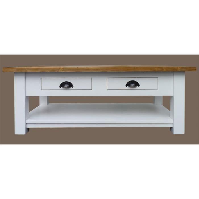 Table basse 2 tiroirs en pin massif blanc et pl achat vente table bass - Plateau en pin massif ...