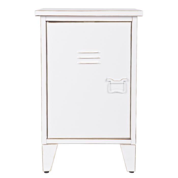 table de nuit avec porte ouverture gauche vintage blanc en m tal h60 5 x l40 x p35 cm achat. Black Bedroom Furniture Sets. Home Design Ideas