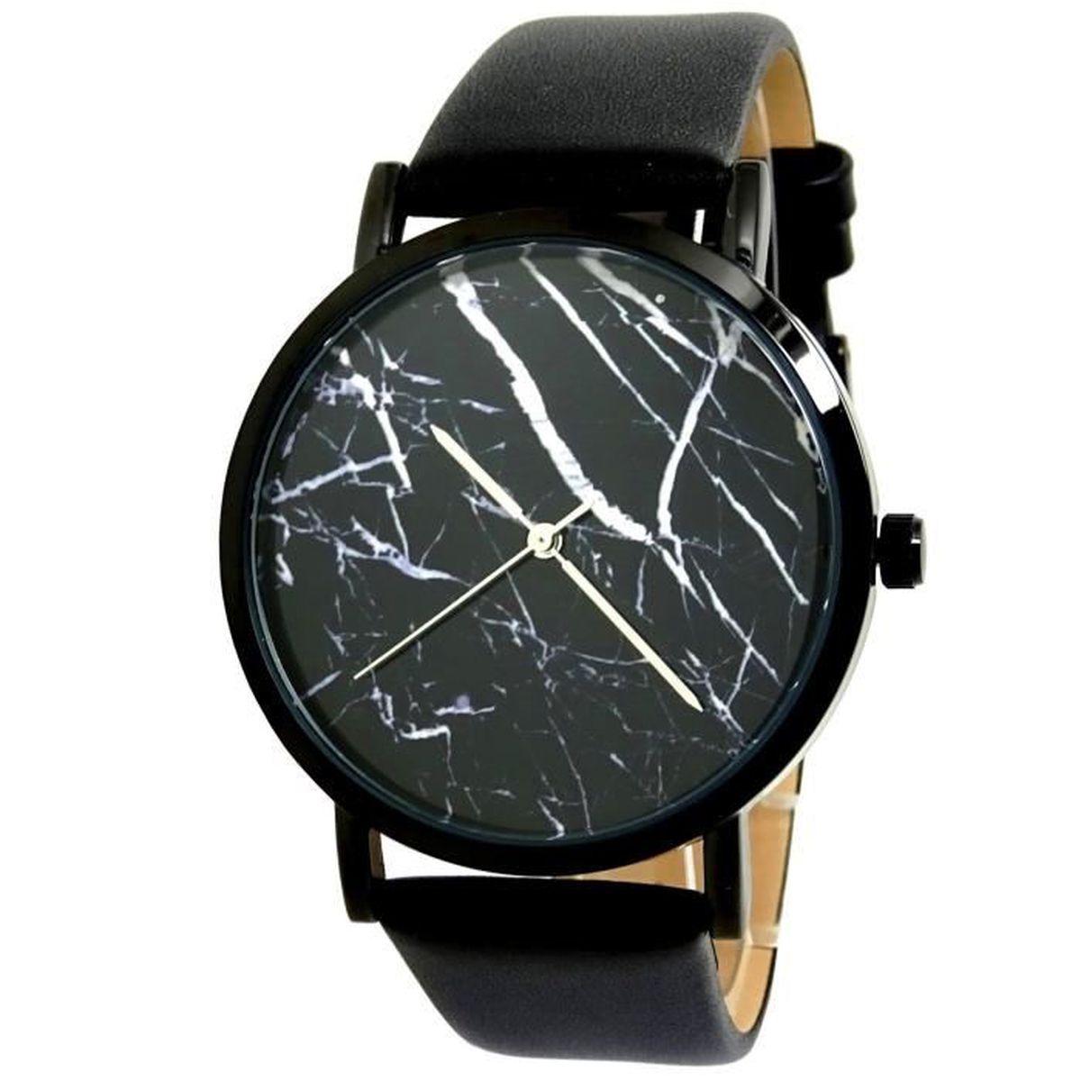 Montre noir et blanc for Miroir noir watch online