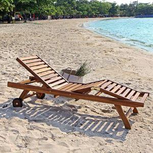 CHAISE LONGUE Bain de soleil / chaise longue en teck huilé
